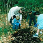 School outdoors - mulching the woodland trail