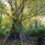 School outdoors - tipi build by children